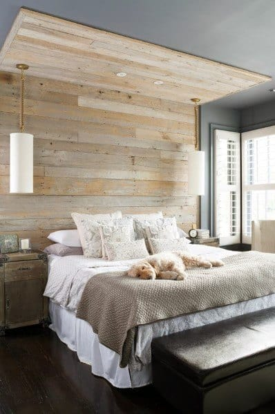 Natural Unpainted Bedroom Wood Wall Ideas