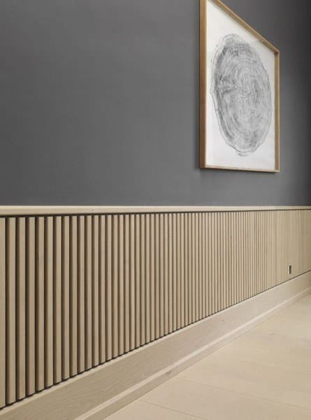 Natural Unstained Wood Slats Wainscoting Ideas