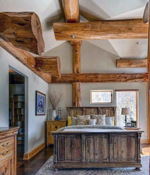 Natural Wood Beam Ceiling Rustic Bedroom Ideas