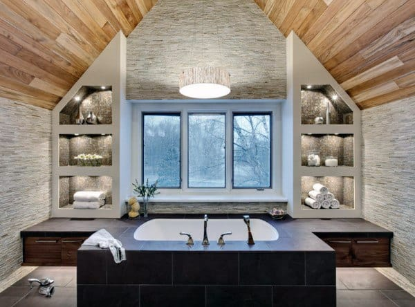 Natural Wood Board Bathroom Ceiling Ideas