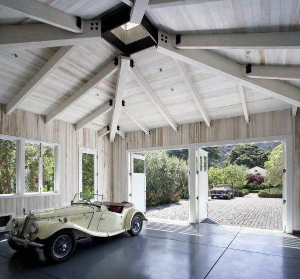 Natural Wood Ceiling Beams For Garage Ideas