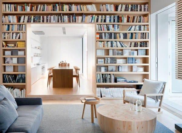 Natural Wood Floor To Ceiling Bookshelves Ideas