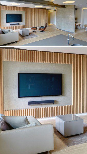 Natural Wood Slats Vertical Modern Design Ideas For Television Wall