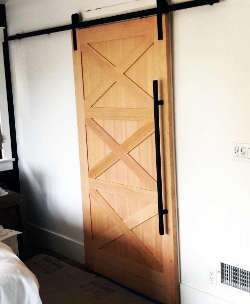 Natural Wood Sliding Barn Doors For Bedroom Interior