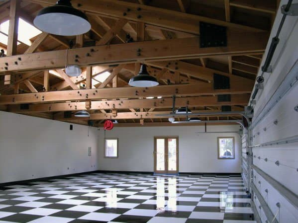 Natural Wood Trusses Garage Ceiling Ideas