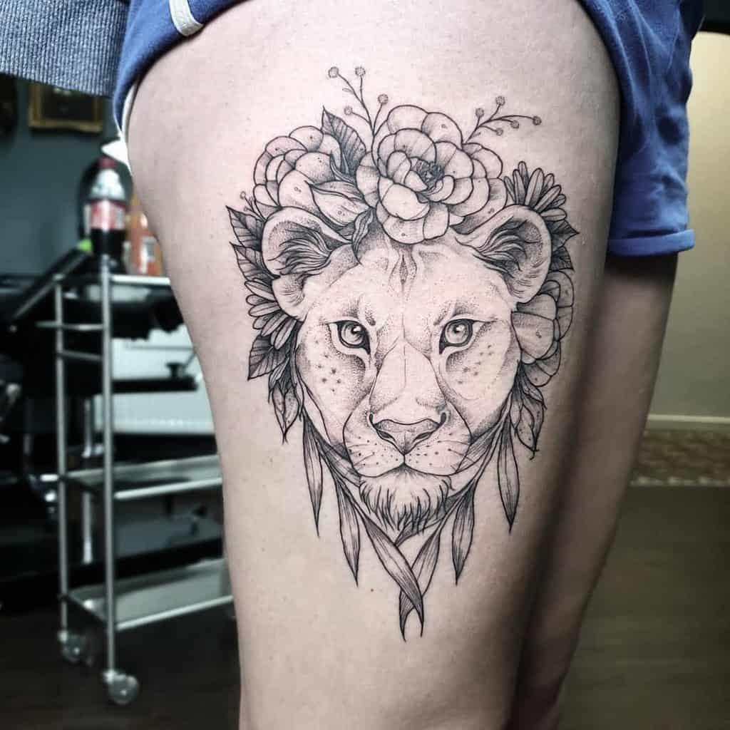 Nature Big Cat Lioness Tattoo