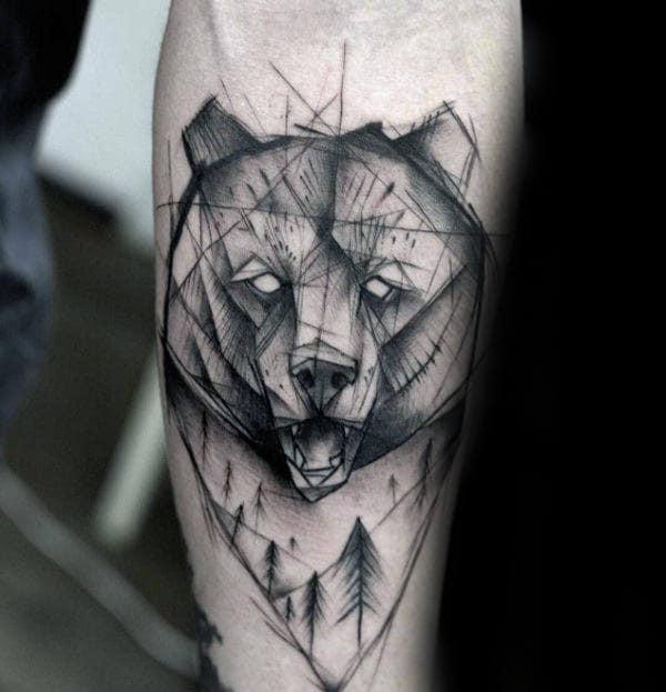 Nature Geometric Bear Mens Inner Forearm Tattoo