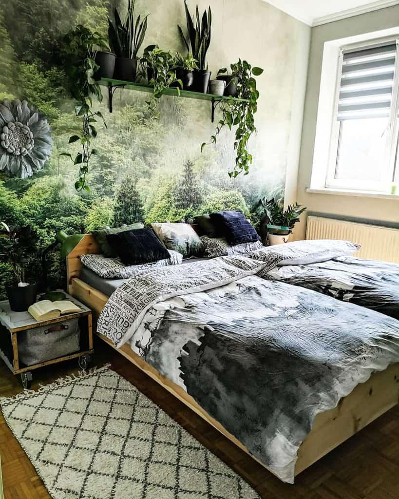nature inspired bedroom wallpaper ideas kunis_lovely_vintage_home
