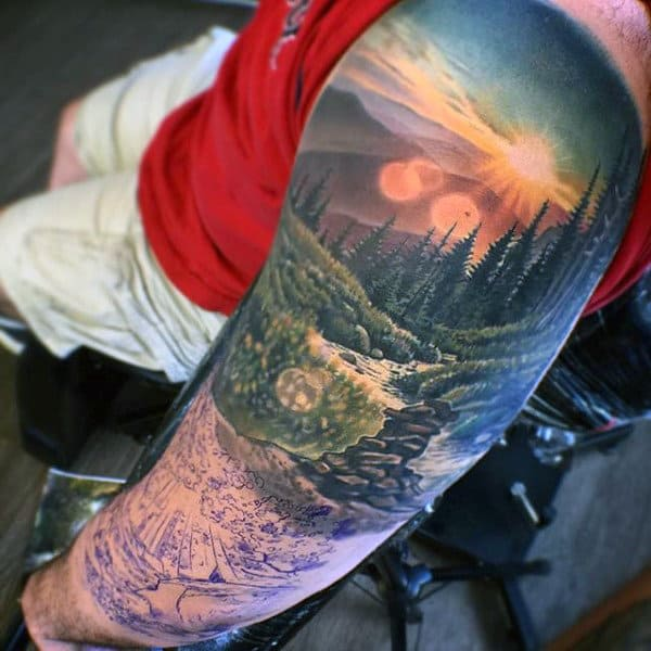 Nature Landscape Artistic Guys Full Sleeve Tattoos