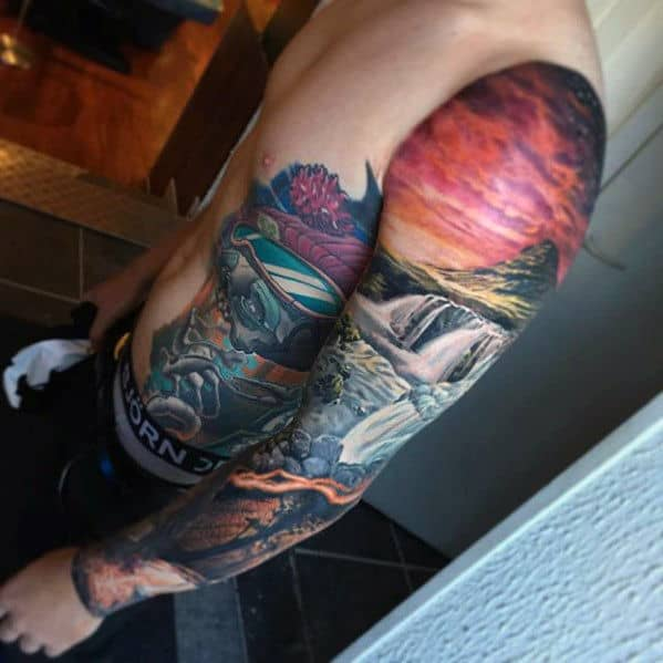 Nature Landscape Waterfall Mens 3d Sleeve Tattoo