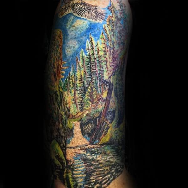Nature Landscape Waterfall Mens Arm Tattoos