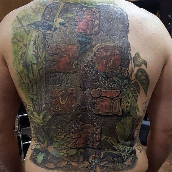 Nature Mayan Stone Blocks Guys Back Tattoo