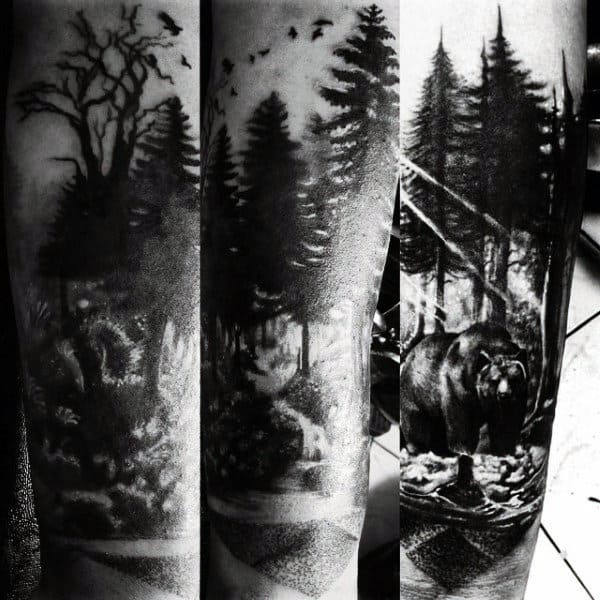 70 pine tree tattoo ideas for men wood in the wilderness. Black Bedroom Furniture Sets. Home Design Ideas