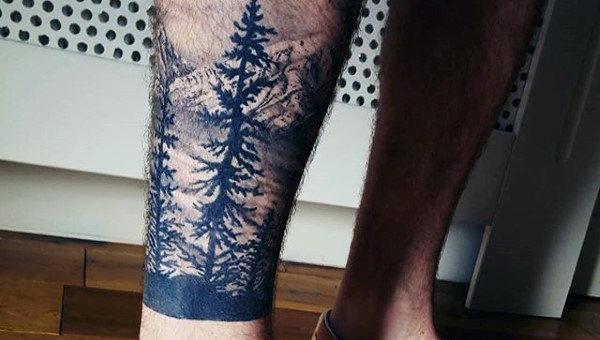 Nature Pine Tree Tattoo For Men