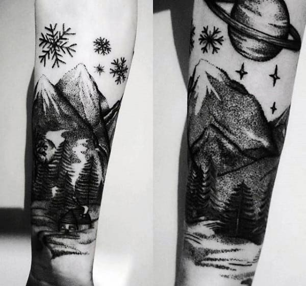 Nature Scene Snowflake Mens Forearm Tattoos