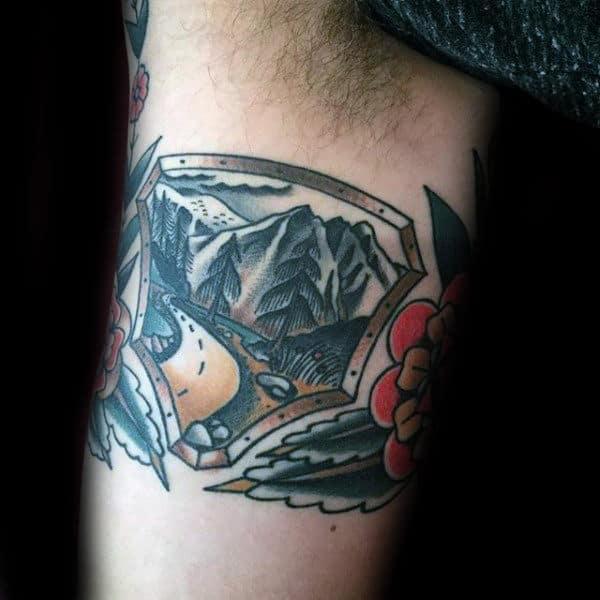 Nature Scene Twin Peaks Mens Arm Tattoos