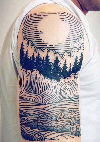 Nature Scene With Sun And Pine Trees Line Tattoo On Man