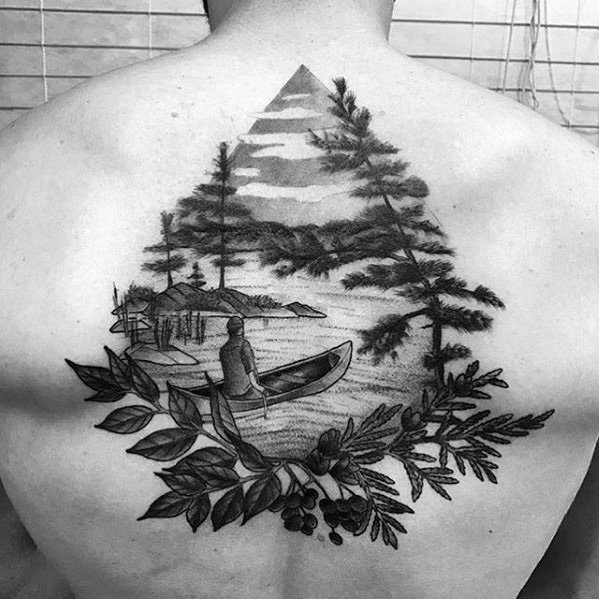 Nature Themed Lake Great Tattoos Guys On Back