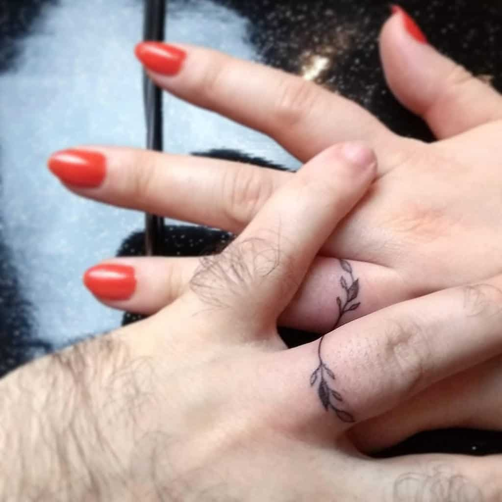 Nature Themed Wedding Ring Tattoo Anahommer