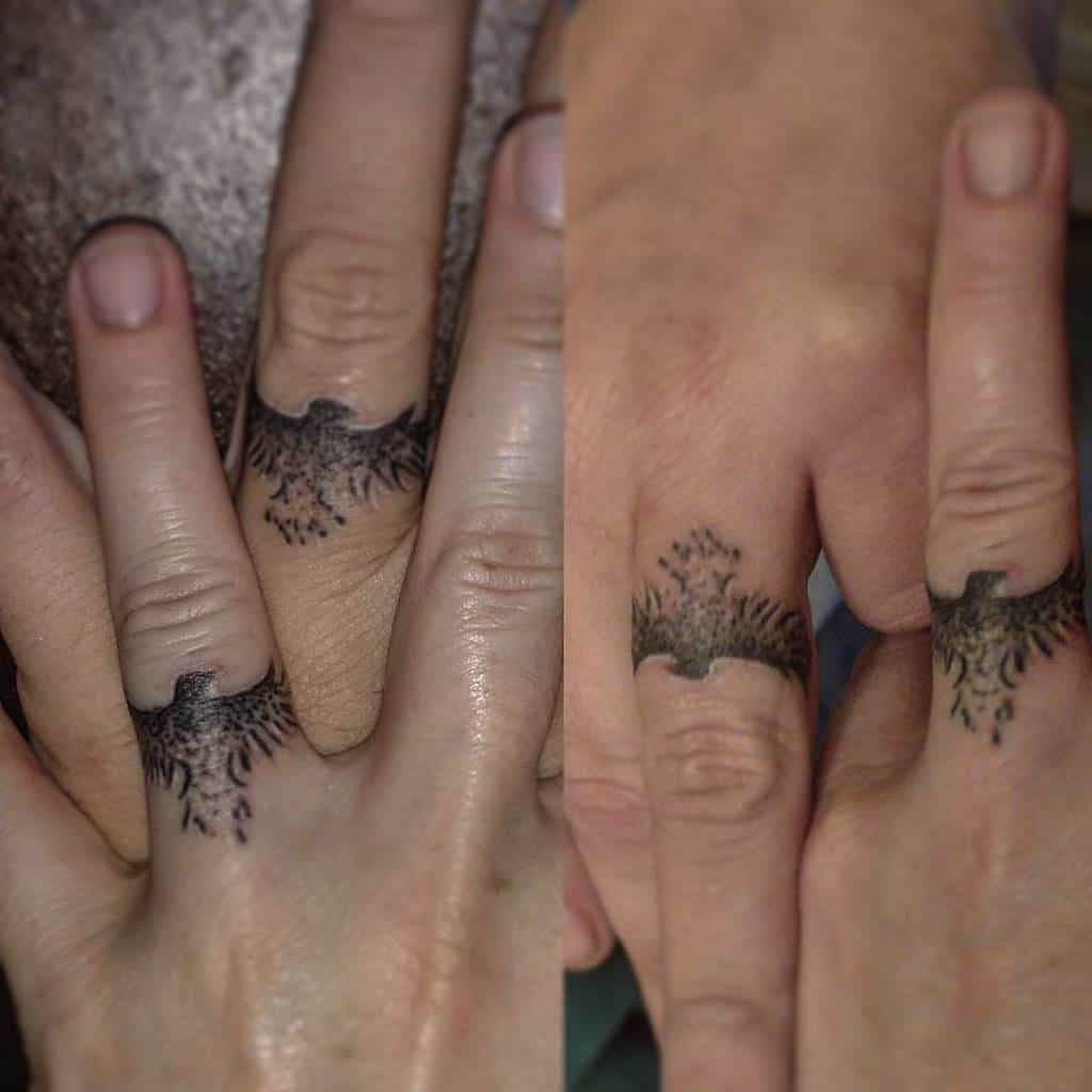 Nature Themed Wedding Ring Tattoo Meowcauw