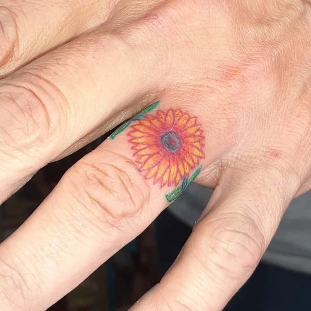 Nature Themed Wedding Ring Tattoo Pattoosink