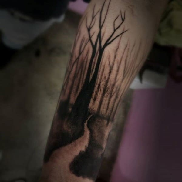 Nature Trail Forearm Tree Male Tattoo Ideas