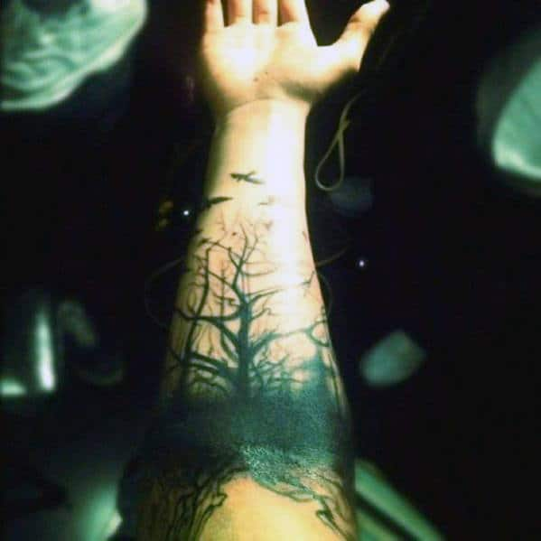 Nature Tree Forearm Tattoo