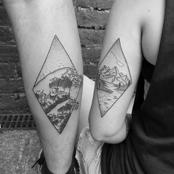 Nature Tricep And Leg Calf Matching Couple Tattoo