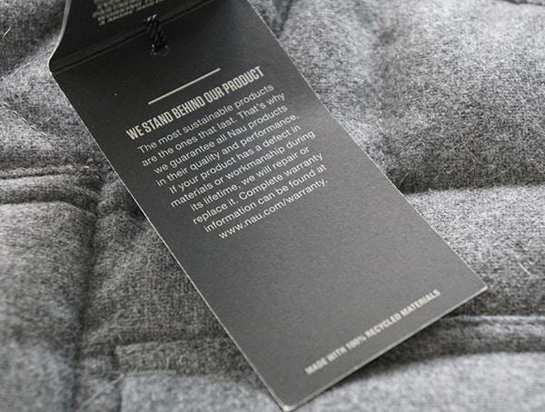 Nau Utility Wool Down Jacket Tag Features