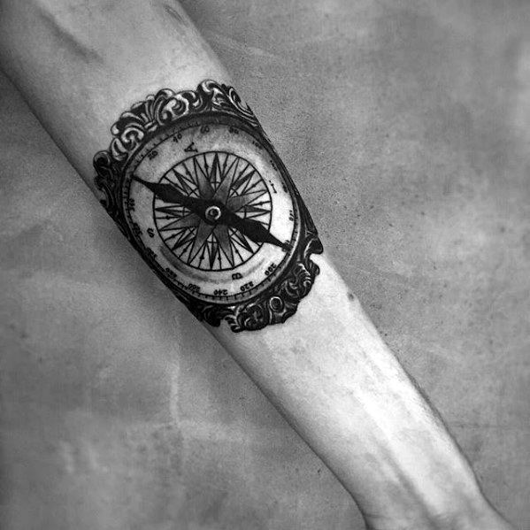 Nautical Compass Ornate Small Detailed Guys Inner Forearm Tattoos