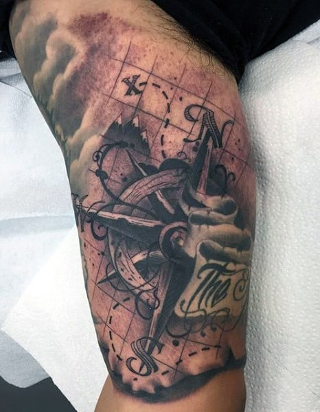 Nautical Compass Tattoo Designs For Men