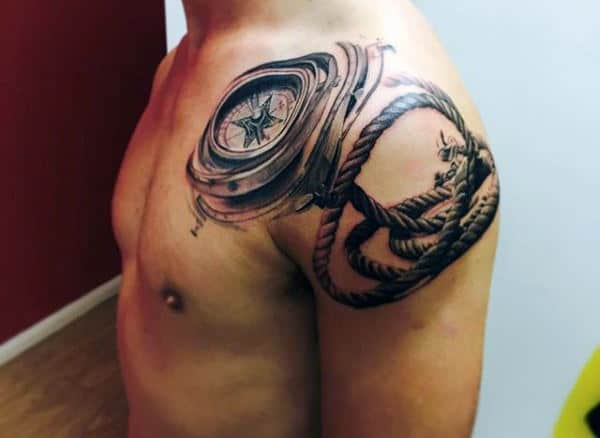 Nautical Compass Tattoos For Men