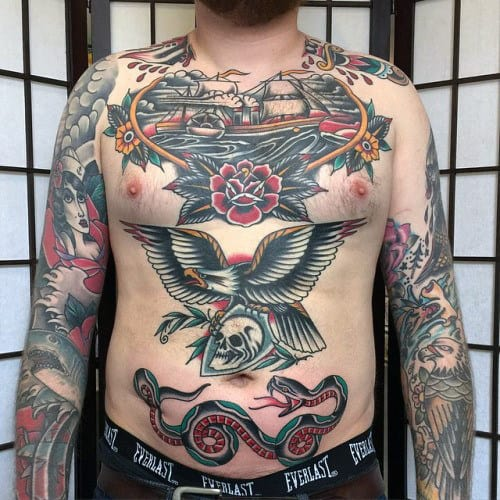 Nautical Guys Traditional Ideas For Chest Tattoos