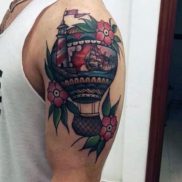Nautical Hot Air Balloon Mens Upper Arm Tattoo Ideas