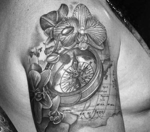 Nautical Map And Compass With Orchid Flowers Quarter Sleeve Tattoo