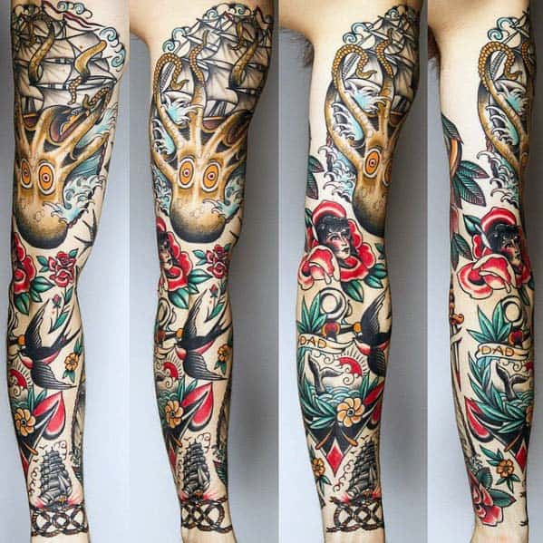 Nautical Mens Traditional Old School Sleeve Tattoos