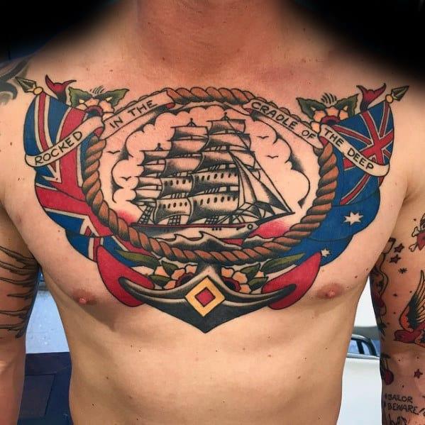 Nautical Sailing Ship Anchor Male Chest Tattoo