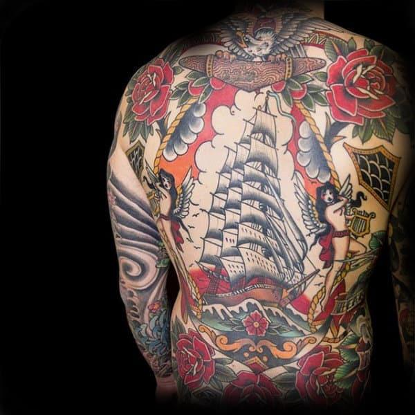 Nautical Sailor Traditional Mens Back Tattoos