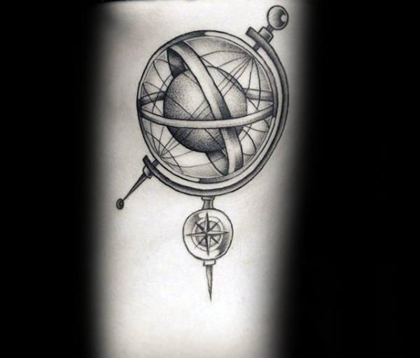 Nautical Star Globe Mens 3d Tattoo On Arm