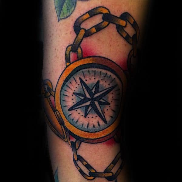 Nautical Star Inside Compass Guys Old School Tattoos