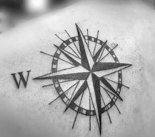 Nautical Star Male Simple Back Of Shoulder Tattoo Designs