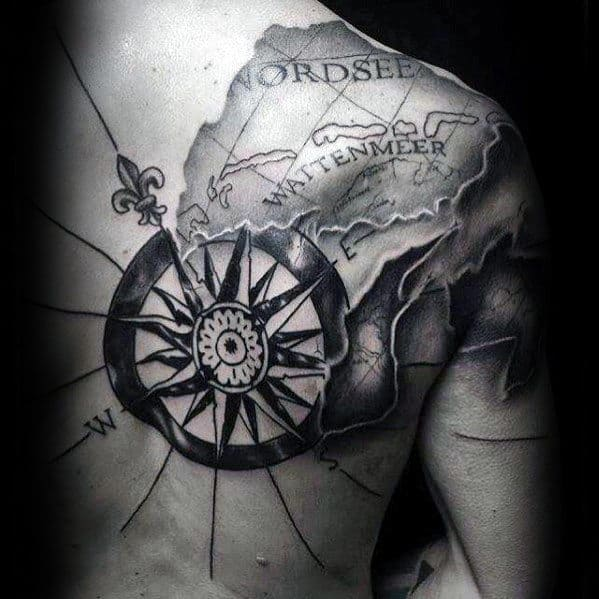 Nautical Star With Map Guys Cool Back Tattoo