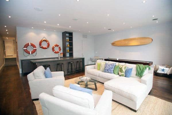 Nautical Themed Finished Basement Design Ideas