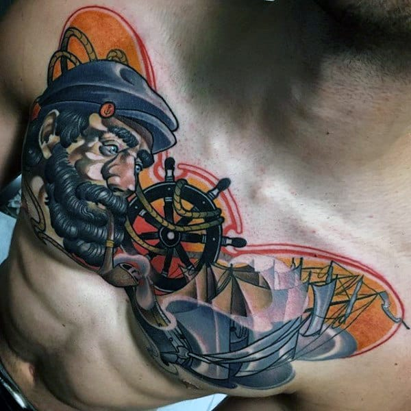 Nautical Themed Guys Colorful Chest Tattoos