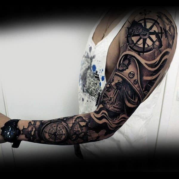 Nautical Themed Insane Full Sleeve Male Tattoo