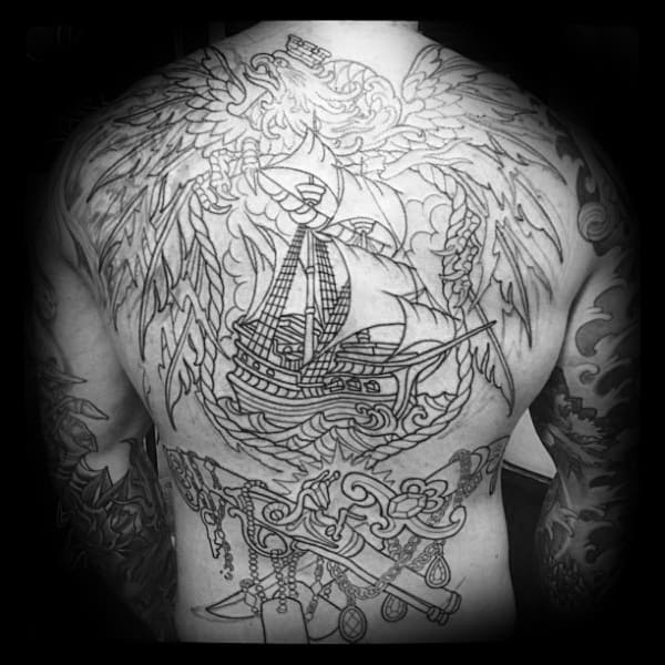 Nautical Themed Male Polish Eagle Back Tattoos