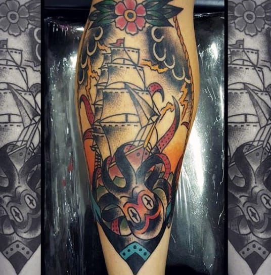 Nautical Themed Male Traditional Octopus Tattoo On Shin