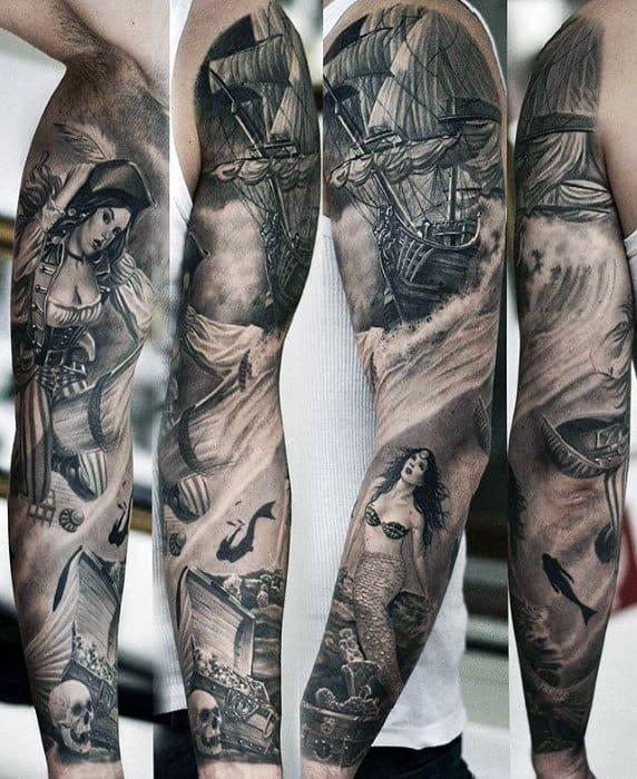 Nautical Themed Mens Black And Grey 3d Sleeve Tattoo