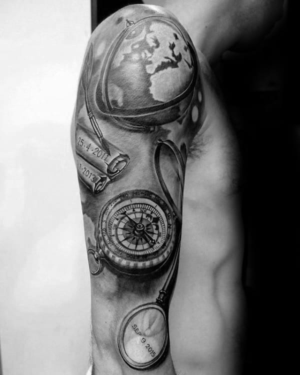 Nautical Themed Mens Globe Sleeve Tattoos