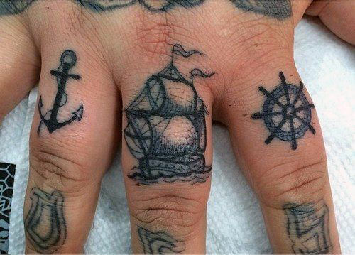 Nautical Themed Mens Knuckle Tattoos With Anchor Ship And Whel